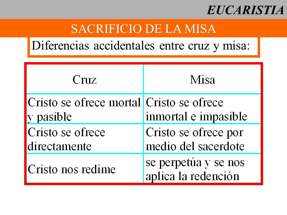 EUCARISTIA SACRIFICIO DE LA MISA Diferencias accidentales entre cruz y misa: