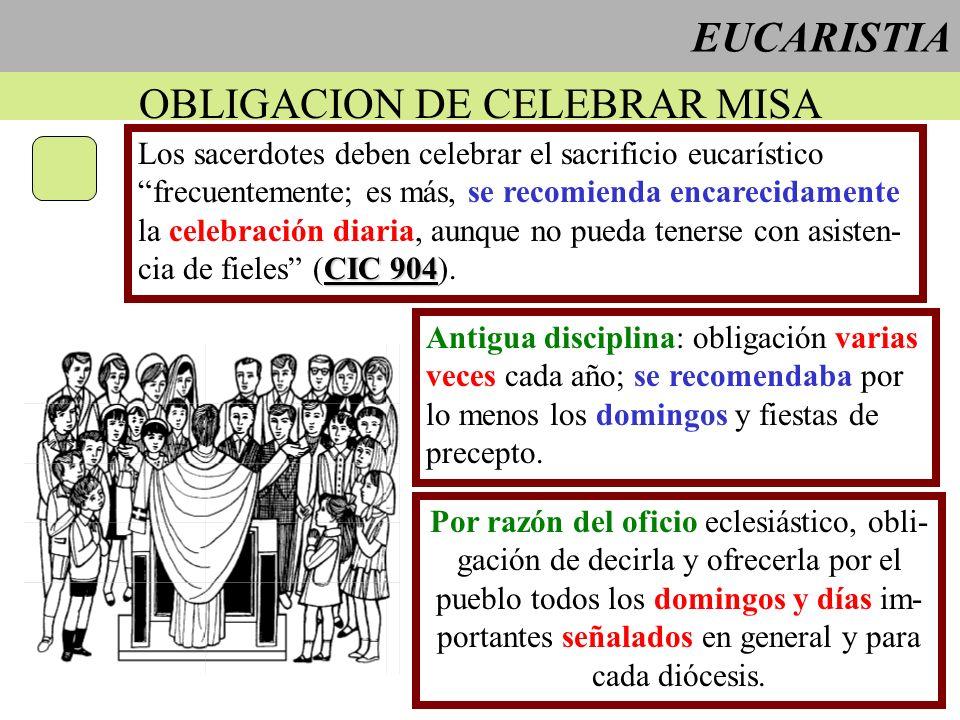 EUCARISTIA OBLIGACION DE CELEBRAR MISA Los sacerdotes deben celebrar el sacrificio eucarístico frecuentemente; es más, se recomienda encarecidamente l