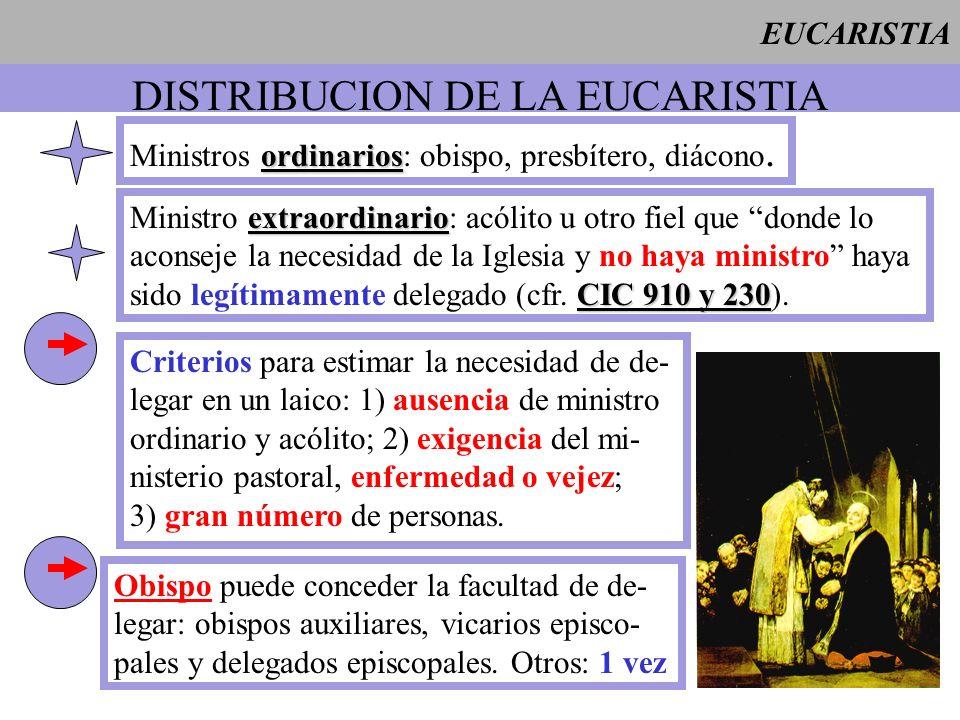 EUCARISTIA DISTRIBUCION DE LA EUCARISTIA ordinarios Ministros ordinarios: obispo, presbítero, diácono. extraordinario Ministro extraordinario: acólito