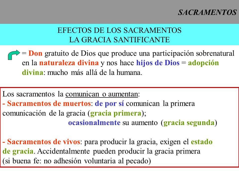 SACRAMENTOS EFECTOS DE LOS SACRAMENTOS LA GRACIA SANTIFICANTE = Don gratuito de Dios que produce una participación sobrenatural en la naturaleza divin