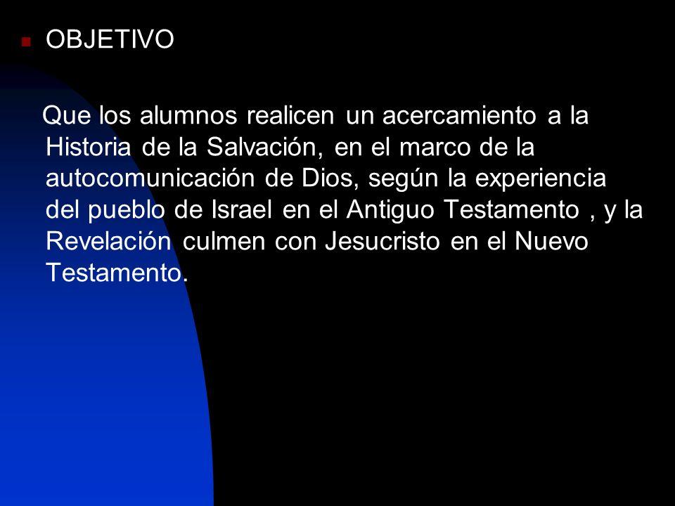 OBJETIVO Que los alumnos realicen un acercamiento a la Historia de la Salvación, en el marco de la autocomunicación de Dios, según la experiencia del
