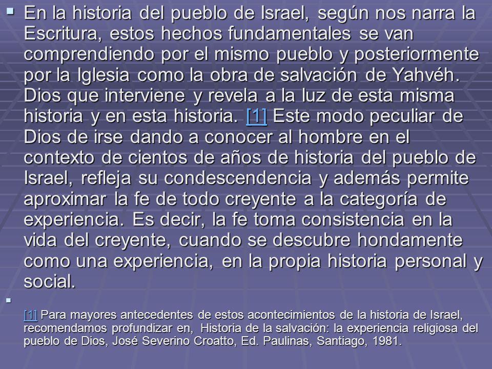 En la historia del pueblo de Israel, según nos narra la Escritura, estos hechos fundamentales se van comprendiendo por el mismo pueblo y posteriorment