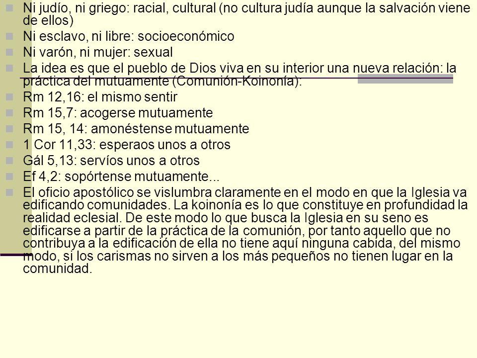 Ni judío, ni griego: racial, cultural (no cultura judía aunque la salvación viene de ellos) Ni esclavo, ni libre: socioeconómico Ni varón, ni mujer: s