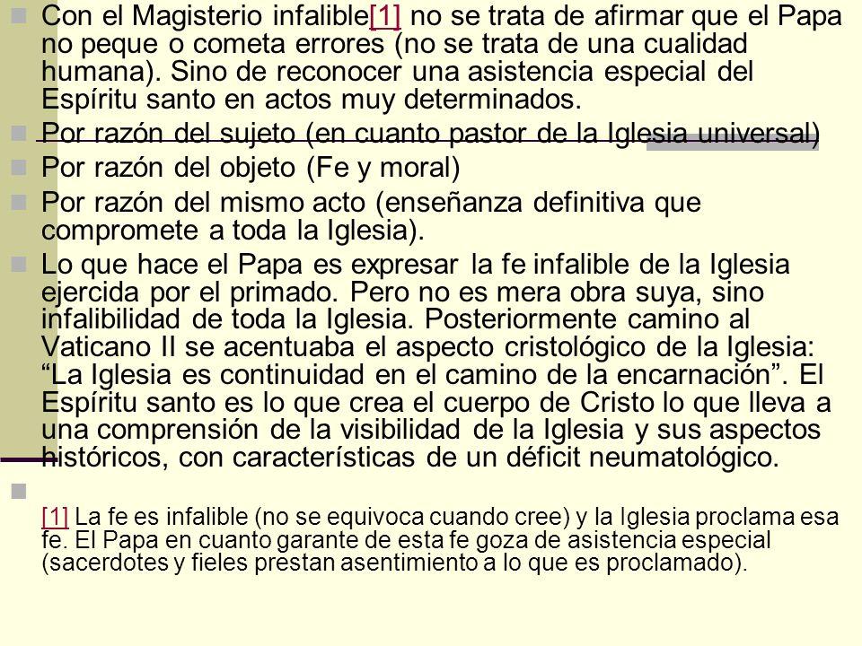 Con el Magisterio infalible[1] no se trata de afirmar que el Papa no peque o cometa errores (no se trata de una cualidad humana). Sino de reconocer un