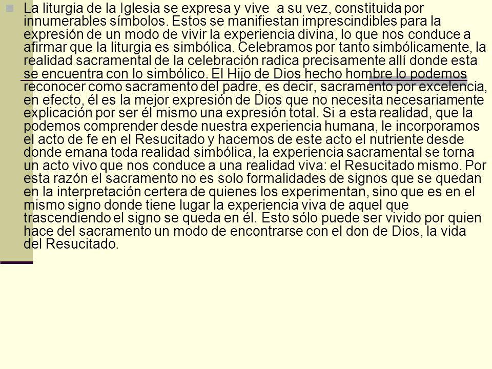 La liturgia de la Iglesia se expresa y vive a su vez, constituida por innumerables símbolos. Estos se manifiestan imprescindibles para la expresión de