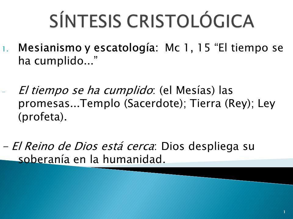 1 1. Mesianismo y escatología: Mc 1, 15 El tiempo se ha cumplido... - El tiempo se ha cumplido: (el Mesías) las promesas...Templo (Sacerdote); Tierra