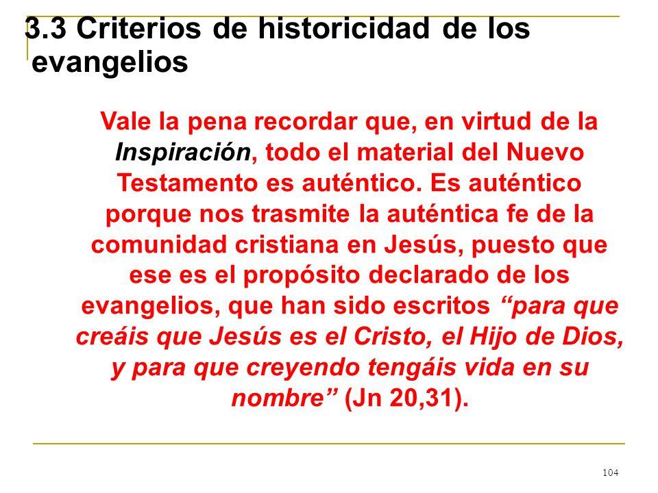 104 3.3 Criterios de historicidad de los evangelios Vale la pena recordar que, en virtud de la Inspiración, todo el material del Nuevo Testamento es a