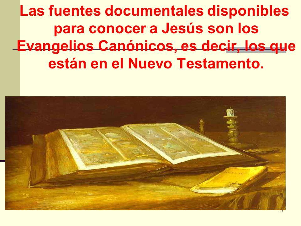 14 Las fuentes documentales disponibles para conocer a Jesús son los Evangelios Canónicos, es decir, los que están en el Nuevo Testamento.