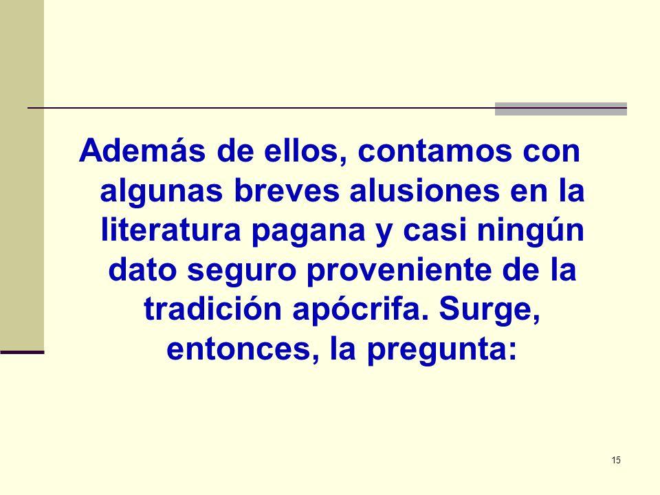 15 Además de ellos, contamos con algunas breves alusiones en la literatura pagana y casi ningún dato seguro proveniente de la tradición apócrifa. Surg