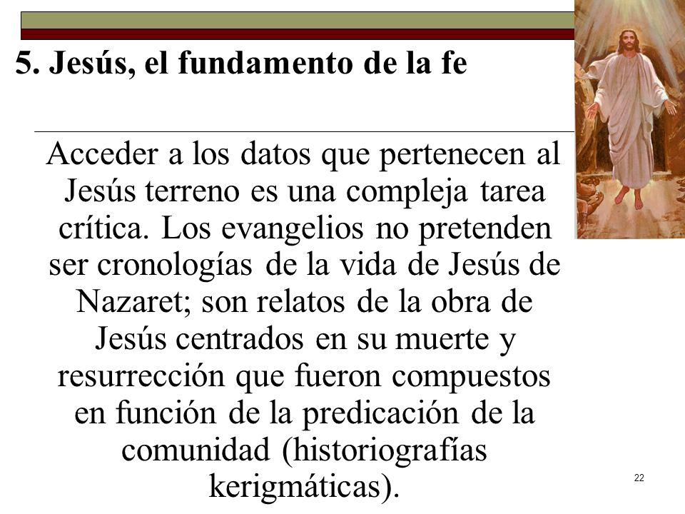 22 5. Jesús, el fundamento de la fe Acceder a los datos que pertenecen al Jesús terreno es una compleja tarea crítica. Los evangelios no pretenden ser