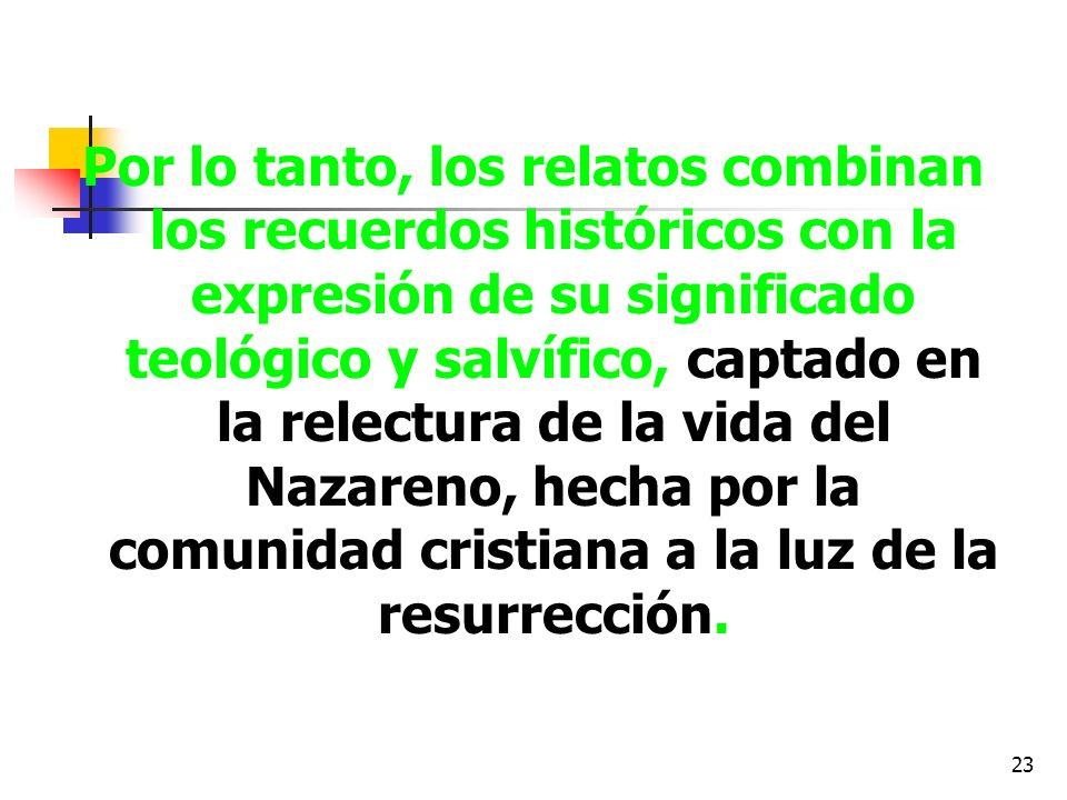 23 Por lo tanto, los relatos combinan los recuerdos históricos con la expresión de su significado teológico y salvífico, captado en la relectura de la