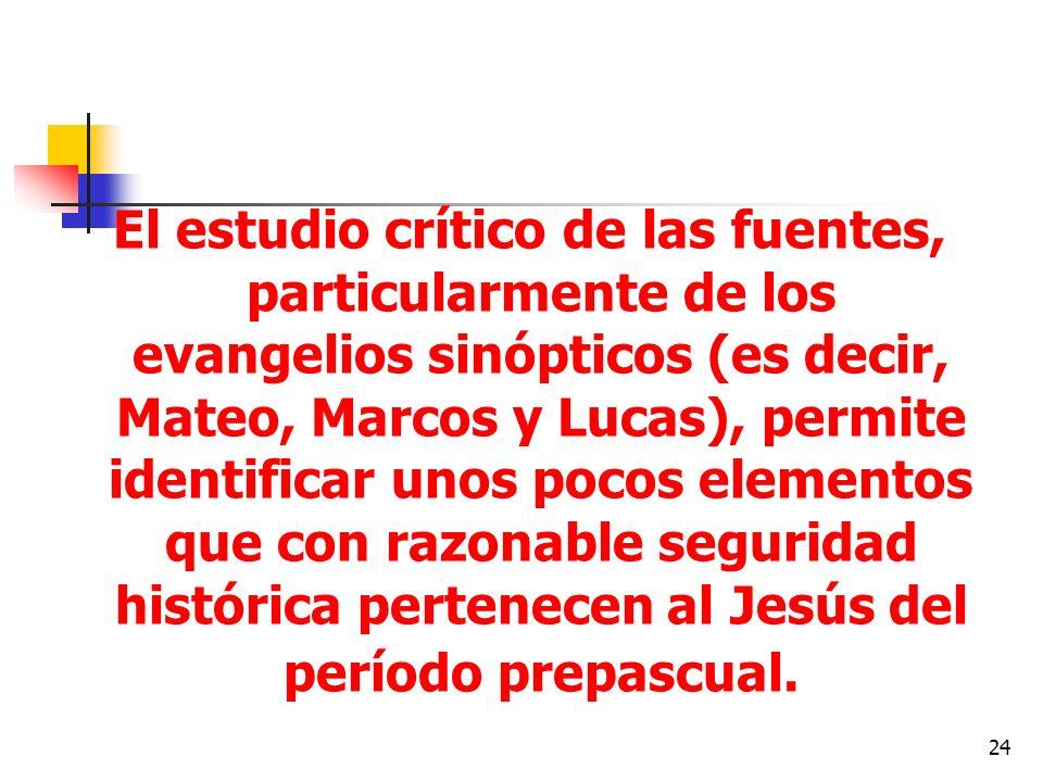 24 El estudio crítico de las fuentes, particularmente de los evangelios sinópticos (es decir, Mateo, Marcos y Lucas), permite identificar unos pocos e
