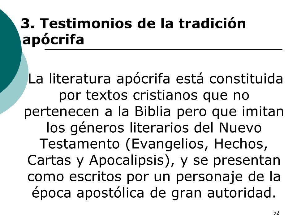 52 3. Testimonios de la tradición apócrifa La literatura apócrifa está constituida por textos cristianos que no pertenecen a la Biblia pero que imitan