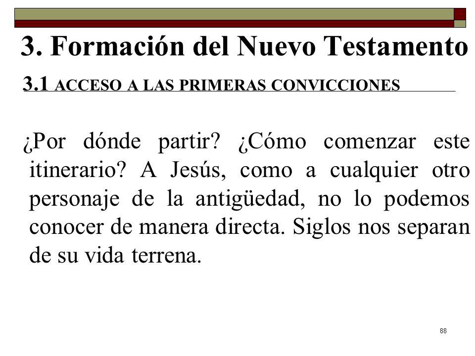 88 3. Formación del Nuevo Testamento 3.1 ACCESO A LAS PRIMERAS CONVICCIONES ¿Por dónde partir? ¿Cómo comenzar este itinerario? A Jesús, como a cualqui