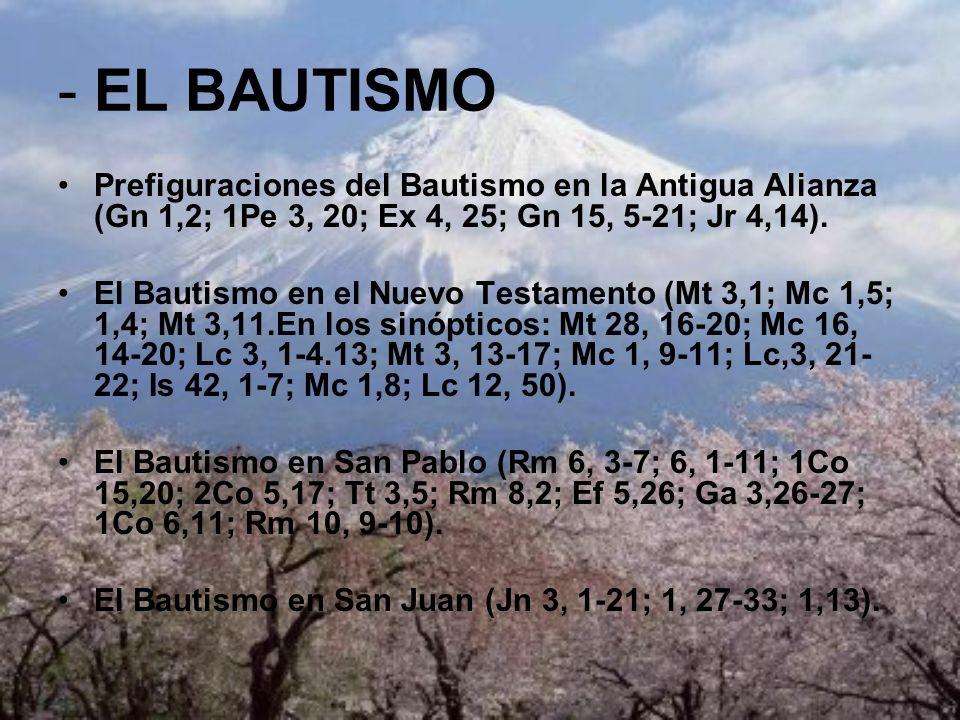 - EL BAUTISMO Prefiguraciones del Bautismo en la Antigua Alianza (Gn 1,2; 1Pe 3, 20; Ex 4, 25; Gn 15, 5-21; Jr 4,14). El Bautismo en el Nuevo Testamen