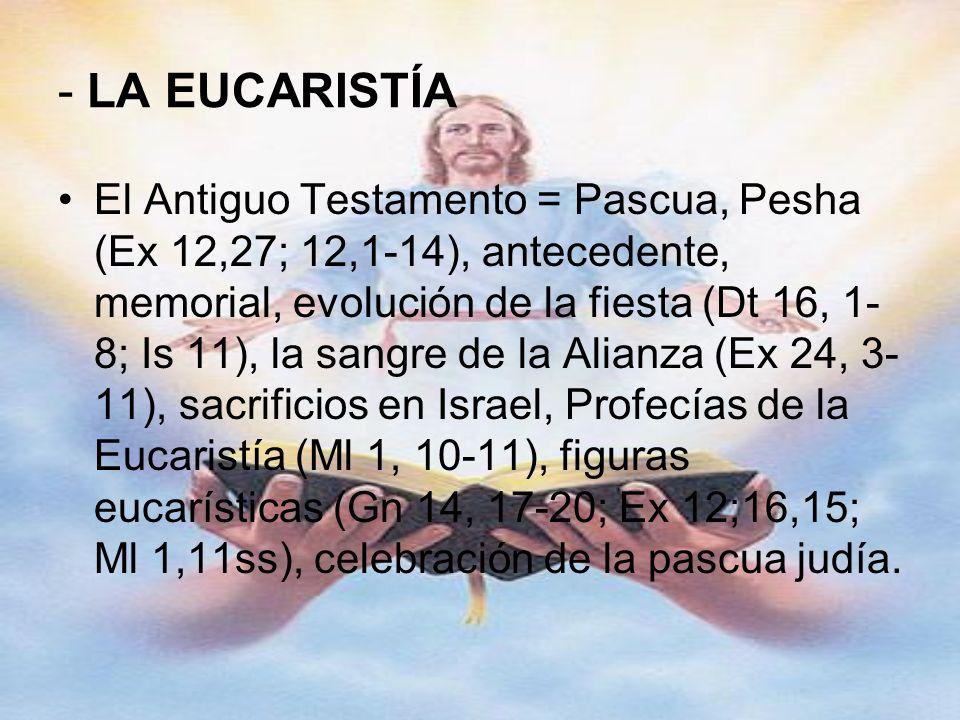 - LA EUCARISTÍA El Antiguo Testamento = Pascua, Pesha (Ex 12,27; 12,1-14), antecedente, memorial, evolución de la fiesta (Dt 16, 1- 8; Is 11), la sang