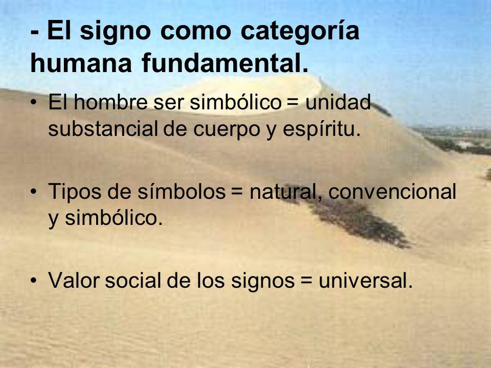 - El signo como categoría humana fundamental. El hombre ser simbólico = unidad substancial de cuerpo y espíritu. Tipos de símbolos = natural, convenci