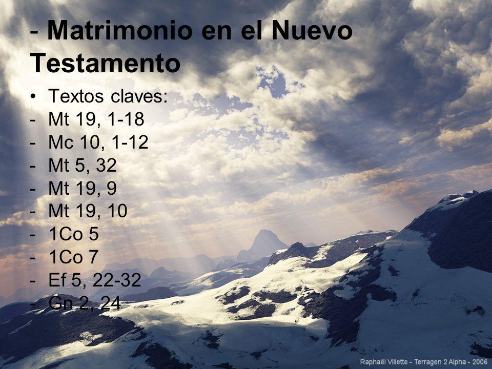 - Matrimonio en el Nuevo Testamento Textos claves: -Mt 19, 1-18 -Mc 10, 1-12 -Mt 5, 32 -Mt 19, 9 -Mt 19, 10 -1Co 5 -1Co 7 -Ef 5, 22-32 -Gn 2, 24