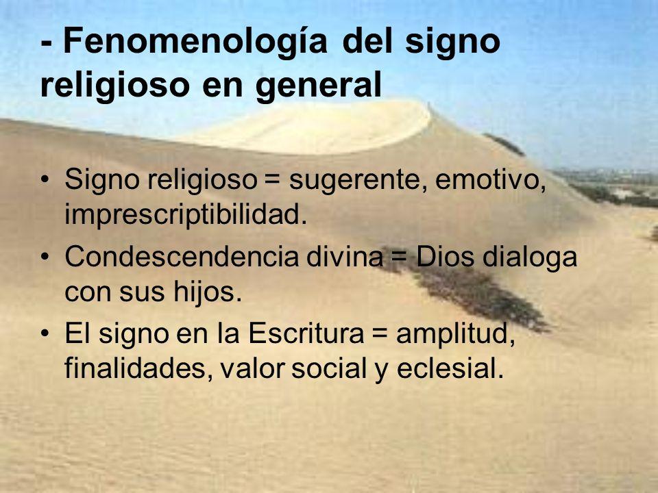 - Fenomenología del signo religioso en general Signo religioso = sugerente, emotivo, imprescriptibilidad. Condescendencia divina = Dios dialoga con su