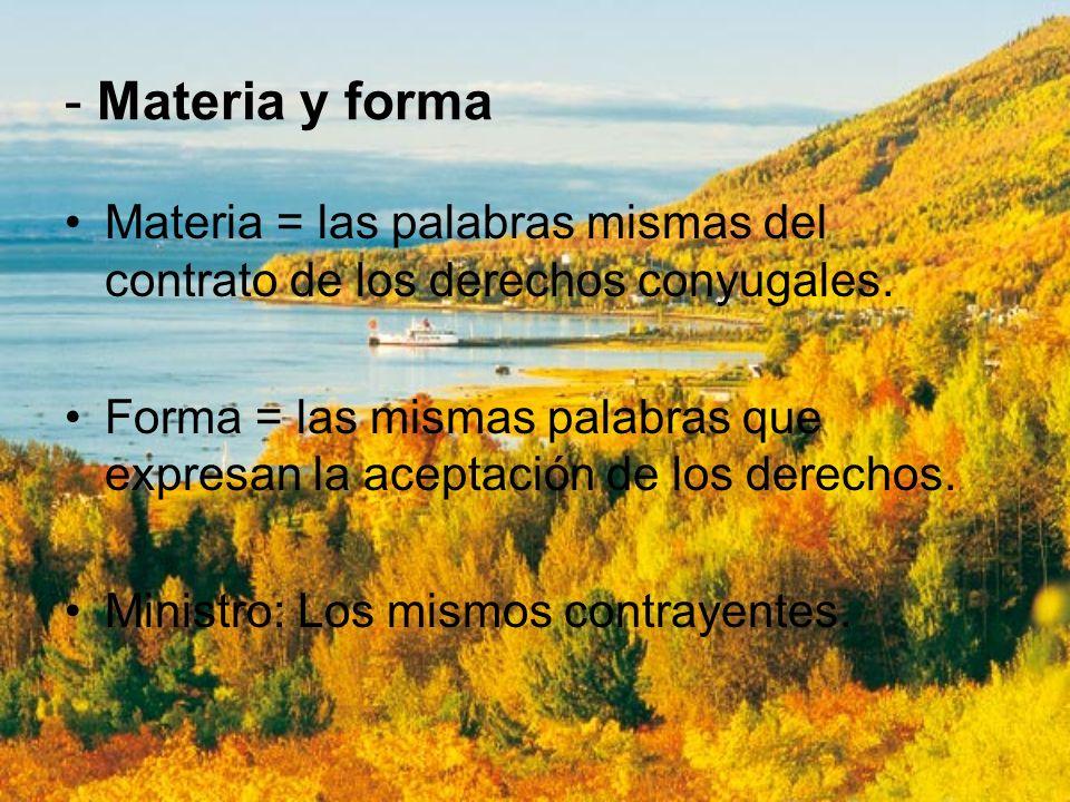 - Materia y forma Materia = las palabras mismas del contrato de los derechos conyugales. Forma = las mismas palabras que expresan la aceptación de los
