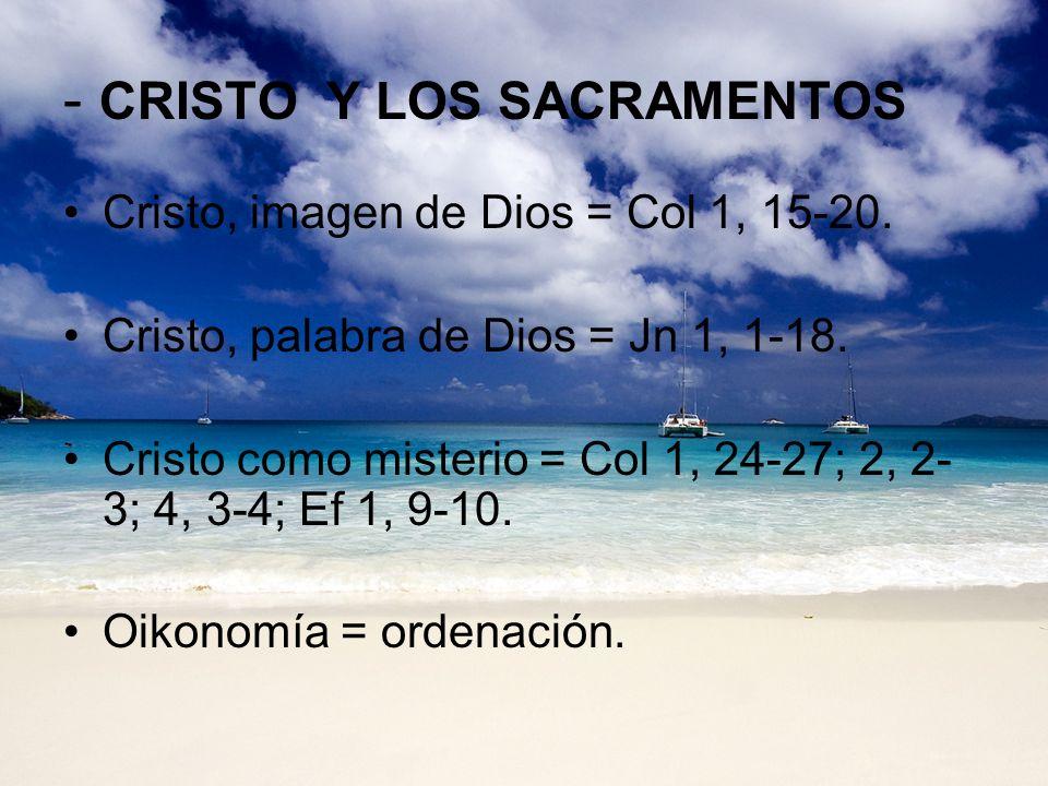 - CRISTO Y LOS SACRAMENTOS Cristo, imagen de Dios = Col 1, 15-20. Cristo, palabra de Dios = Jn 1, 1-18. Cristo como misterio = Col 1, 24-27; 2, 2- 3;