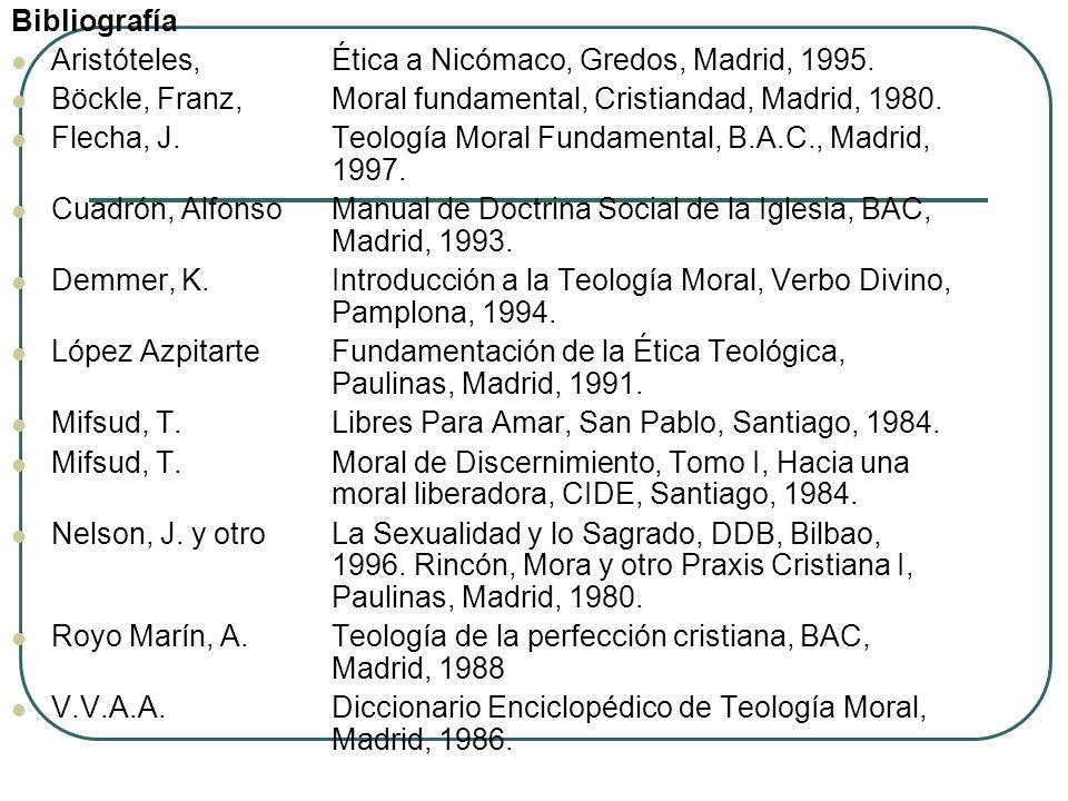 Bibliografía Aristóteles, Ética a Nicómaco, Gredos, Madrid, 1995. Böckle, Franz, Moral fundamental, Cristiandad, Madrid, 1980. Flecha, J. Teología Mor