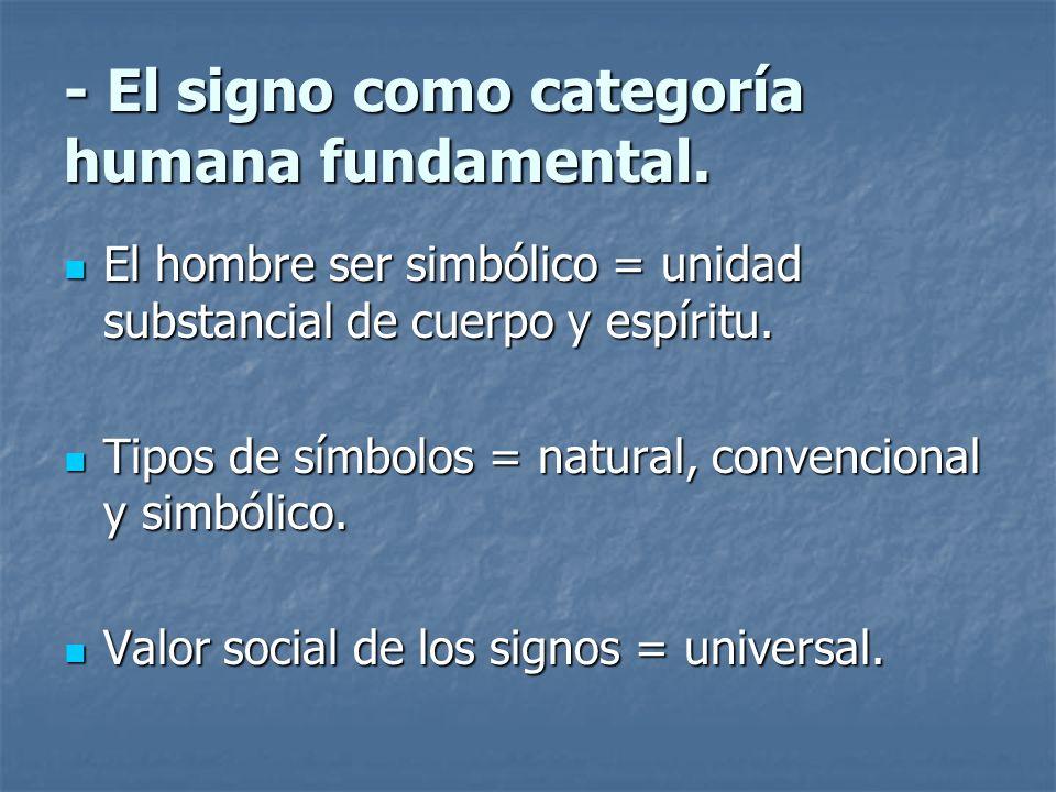 - El signo como categoría humana fundamental. El hombre ser simbólico = unidad substancial de cuerpo y espíritu. El hombre ser simbólico = unidad subs