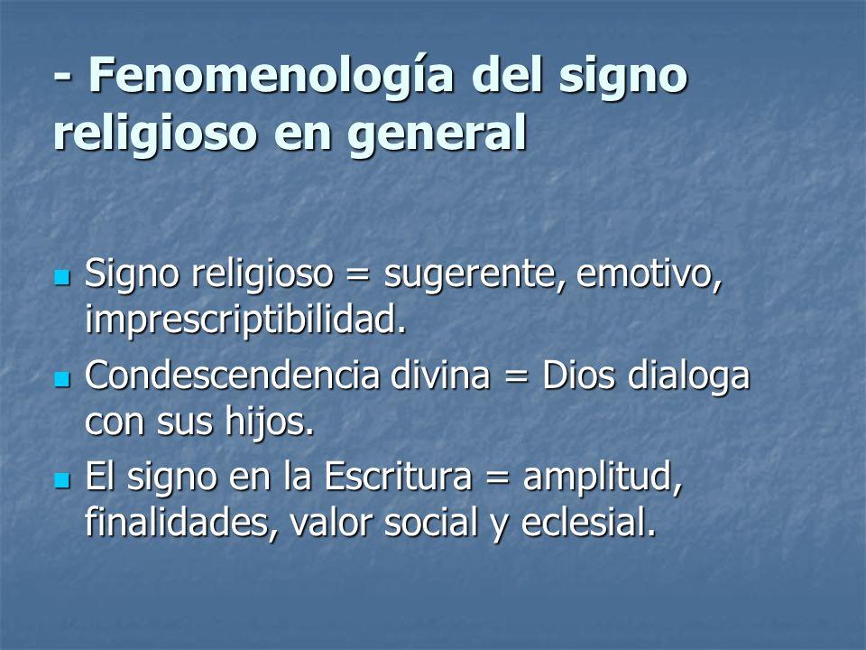 - Fenomenología del signo religioso en general Signo religioso = sugerente, emotivo, imprescriptibilidad. Signo religioso = sugerente, emotivo, impres