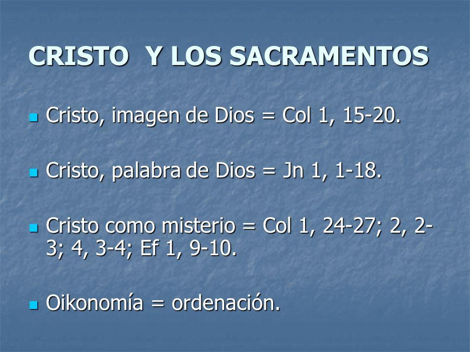 CRISTO Y LOS SACRAMENTOS Cristo, imagen de Dios = Col 1, 15-20. Cristo, imagen de Dios = Col 1, 15-20. Cristo, palabra de Dios = Jn 1, 1-18. Cristo, p