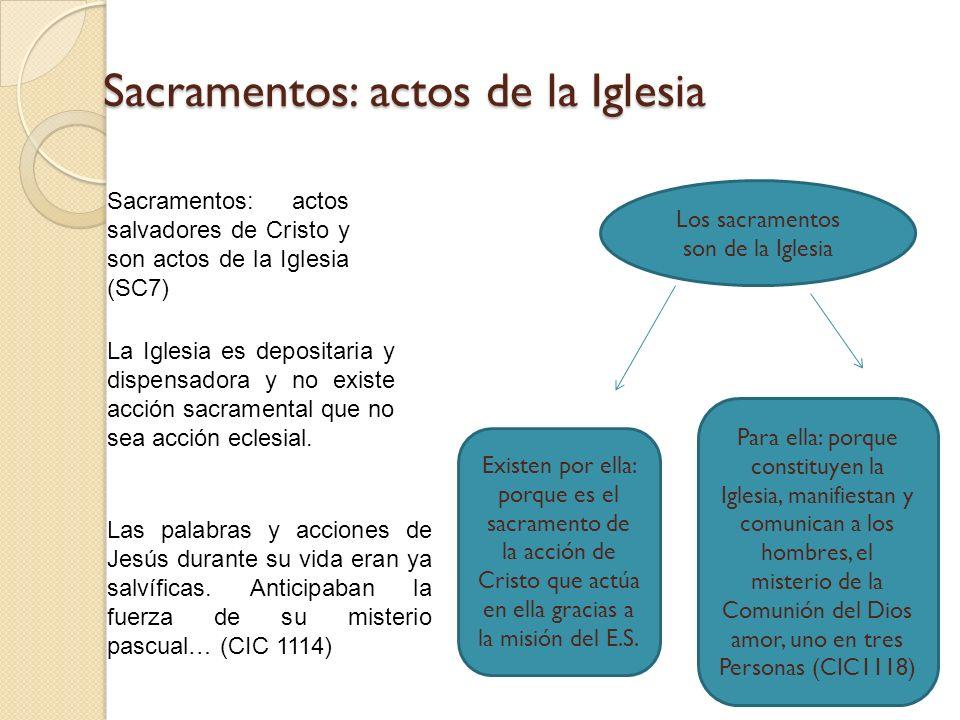 Sacramentos: actos de la Iglesia Sacramentos: actos salvadores de Cristo y son actos de la Iglesia (SC7) La Iglesia es depositaria y dispensadora y no