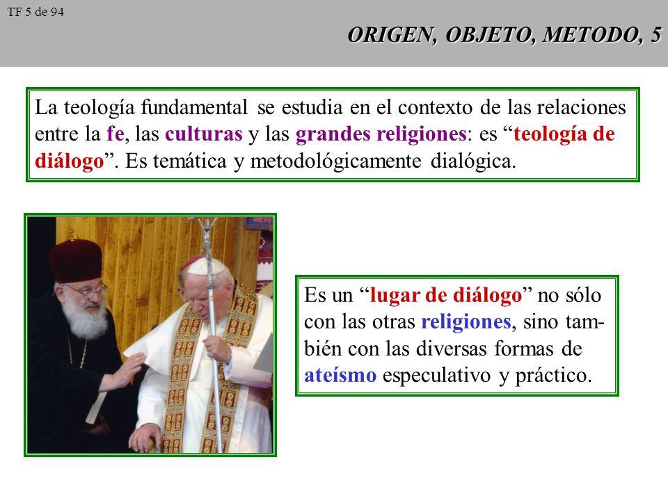 ORIGEN, OBJETO, METODO, 5 La teología fundamental se estudia en el contexto de las relaciones entre la fe, las culturas y las grandes religiones: es teología de diálogo.