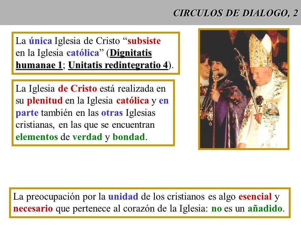 CIRCULOS DE DIALOGO, 2 La única Iglesia de Cristo subsiste Dignitatis en la Iglesia católica (Dignitatis humanae 1Unitatis redintegratio 4 humanae 1;
