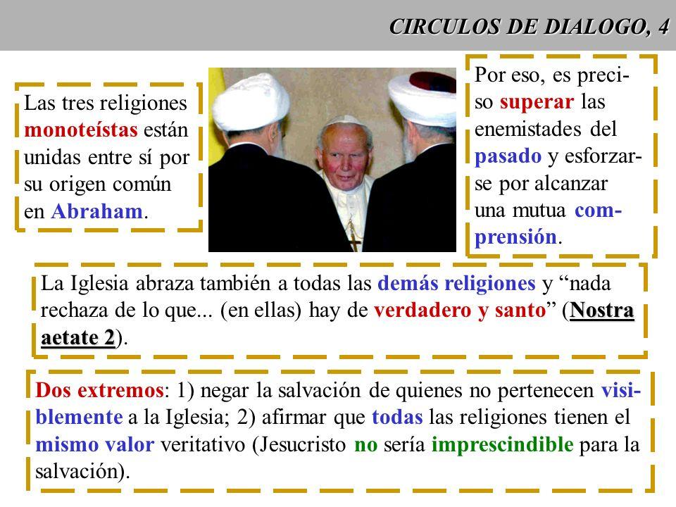 CIRCULOS DE DIALOGO, 4 Las tres religiones monoteístas están unidas entre sí por su origen común en Abraham. Por eso, es preci- so superar las enemist