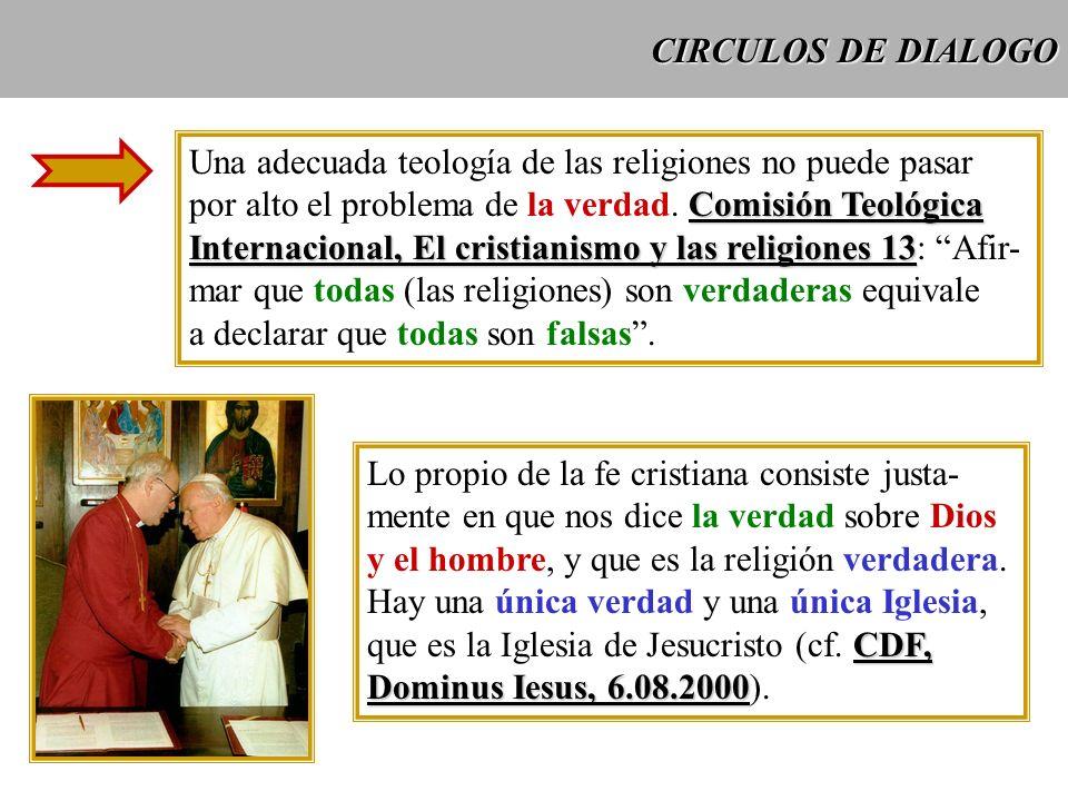 CIRCULOS DE DIALOGO Una adecuada teología de las religiones no puede pasar Comisión Teológica por alto el problema de la verdad. Comisión Teológica In