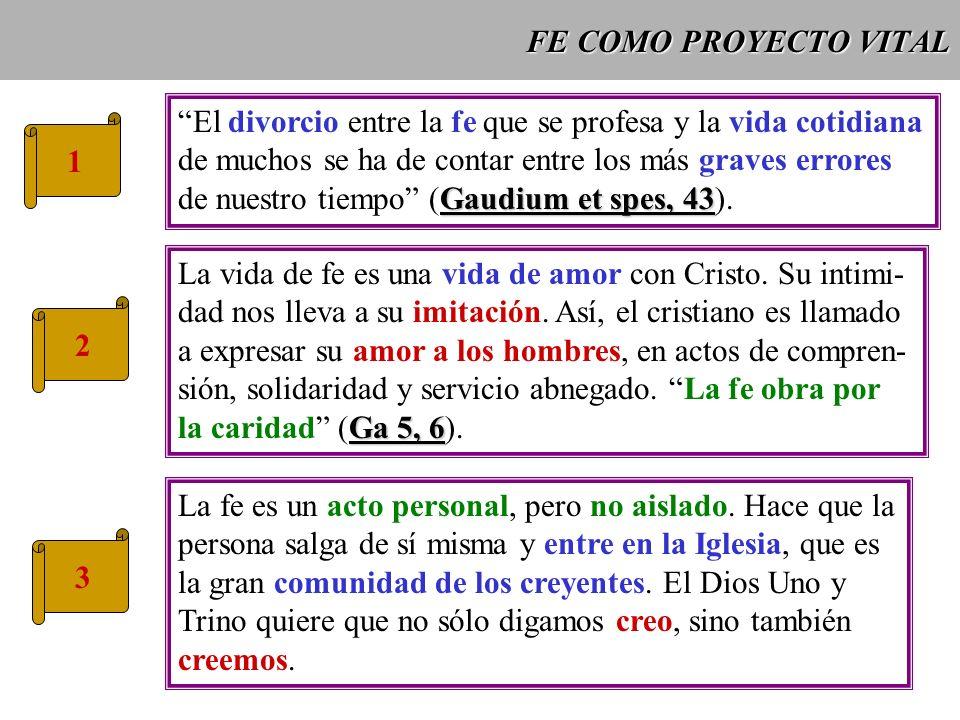 FE COMO PROYECTO VITAL 1 El divorcio entre la fe que se profesa y la vida cotidiana de muchos se ha de contar entre los más graves errores Gaudium et