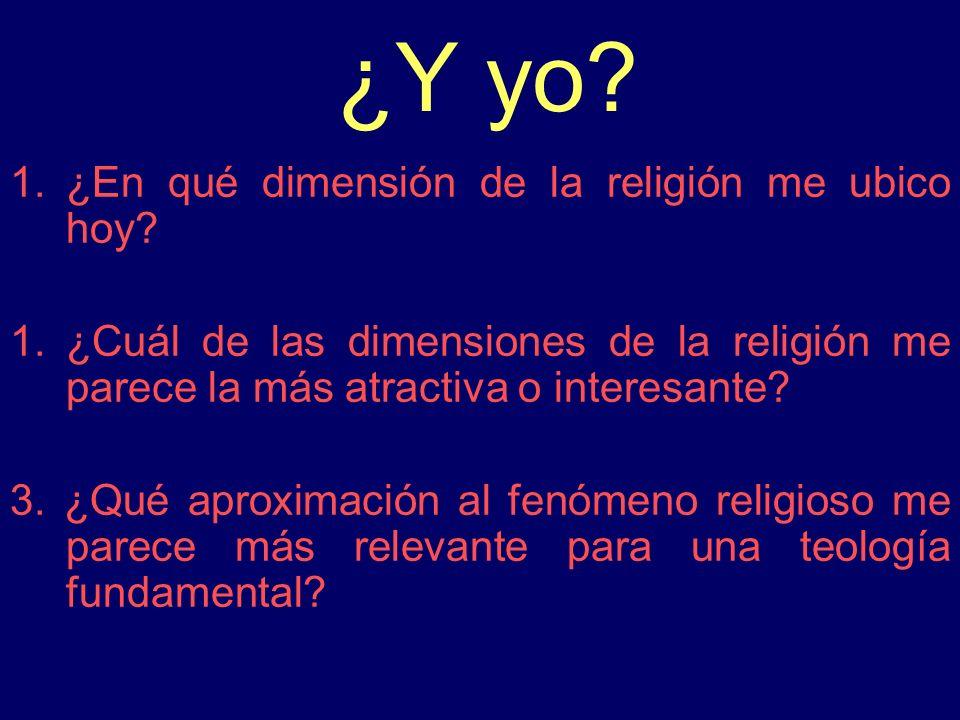 ¿Y yo? 1.¿En qué dimensión de la religión me ubico hoy? 1.¿Cuál de las dimensiones de la religión me parece la más atractiva o interesante? 3. ¿Qué ap