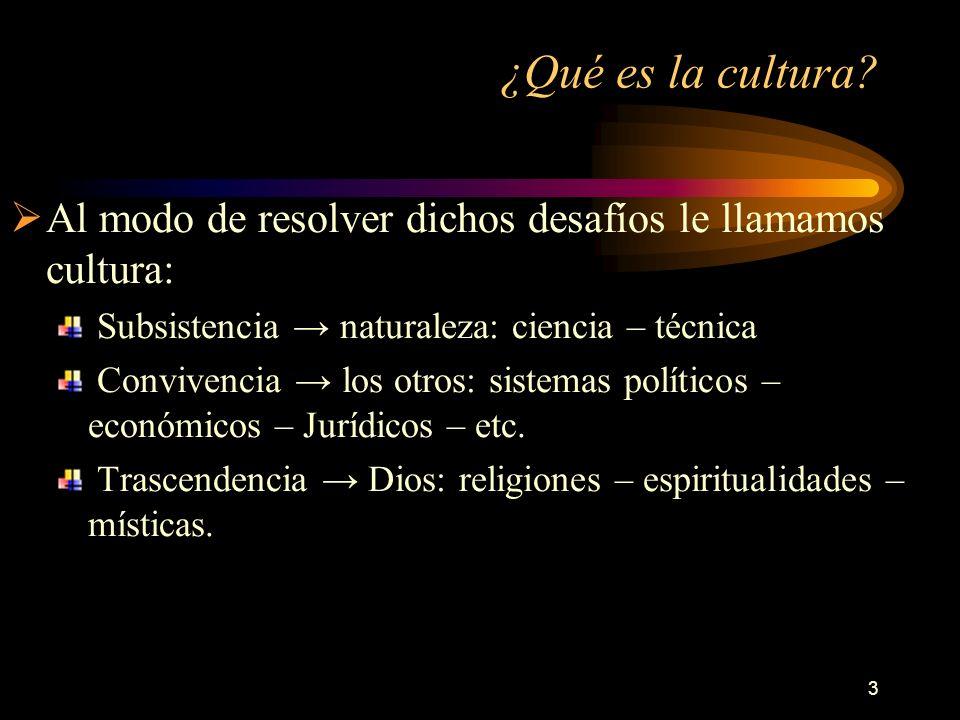 3 ¿Qué es la cultura? Al modo de resolver dichos desafíos le llamamos cultura: Subsistencia naturaleza: ciencia – técnica Convivencia los otros: siste