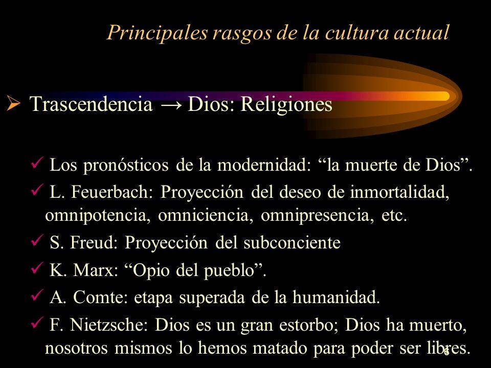 6 Principales rasgos de la cultura actual Trascendencia Dios: Religiones Los pronósticos de la modernidad: la muerte de Dios. L. Feuerbach: Proyección
