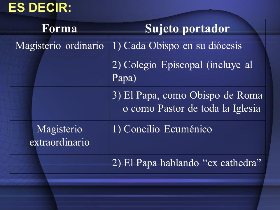 FormaSujeto portador Magisterio ordinario1) Cada Obispo en su diócesis 2) Colegio Episcopal (incluye al Papa) 3) El Papa, como Obispo de Roma o como P