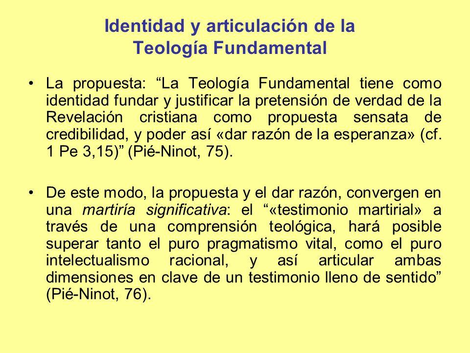 Iglesia Revelación cristiana Fe Lo razonable Lo creíble Lo significativo Razón Mundo Sujeto Articulación de la Teología Fundamental, de acuerdo a su identidad