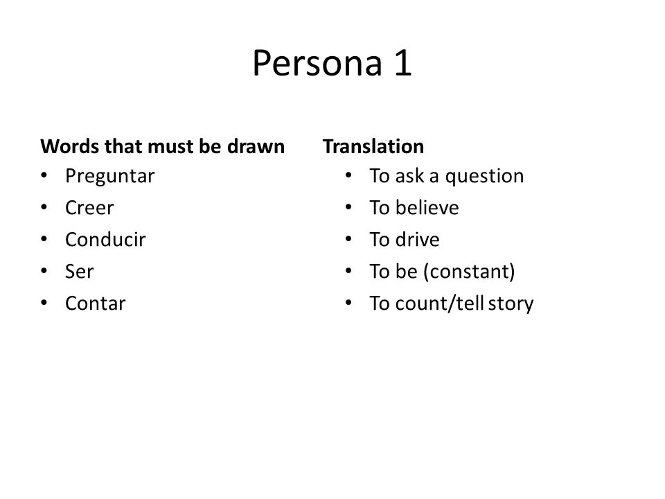 Persona 1 Preguntar Creer Conducir Ser Contar To ask a question To believe To drive To be (constant) To count/tell story Words that must be drawnTranslation