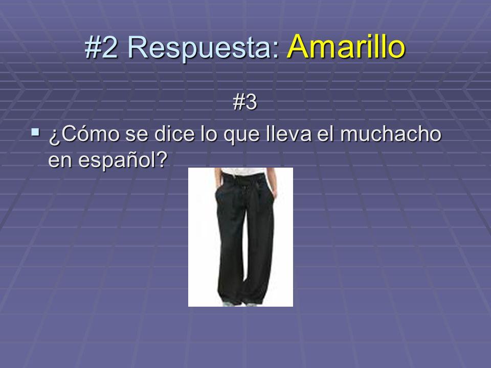 #2 Respuesta: Amarillo #3 ¿Cómo se dice lo que lleva el muchacho en español? ¿Cómo se dice lo que lleva el muchacho en español?