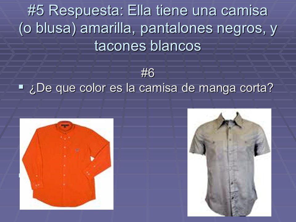 #5 Respuesta: Ella tiene una camisa (o blusa) amarilla, pantalones negros, y tacones blancos #6 ¿De que color es la camisa de manga corta? ¿De que col