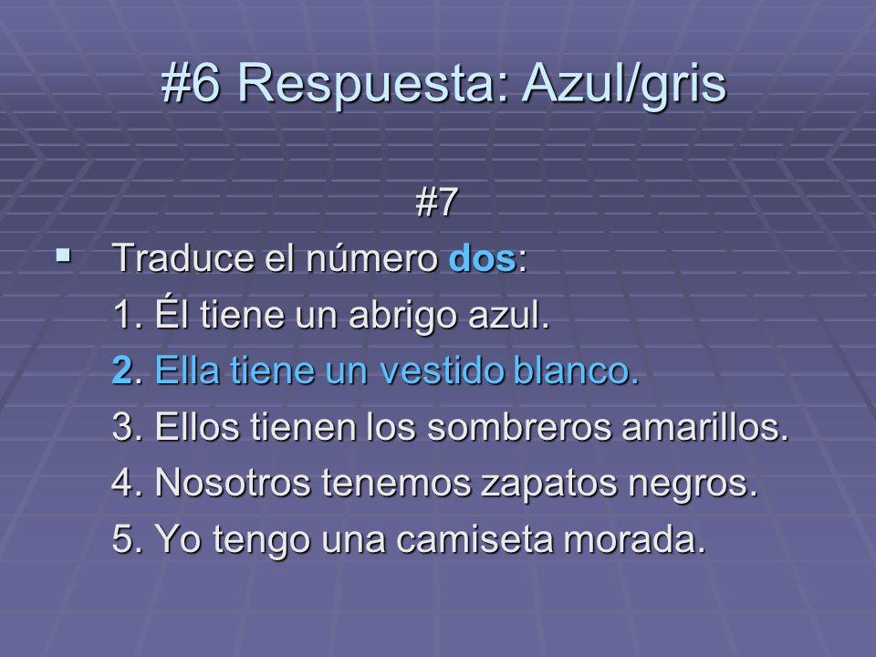 #6 Respuesta: Azul/gris #6 Respuesta: Azul/gris #7 Traduce el número dos: Traduce el número dos: 1. Él tiene un abrigo azul. 2. Ella tiene un vestido