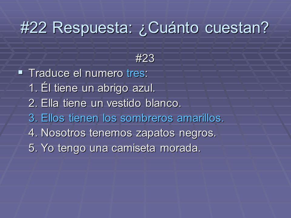 #23 Traduce el numero tres: Traduce el numero tres: 1. Él tiene un abrigo azul. 2. Ella tiene un vestido blanco. 3. Ellos tienen los sombreros amarill