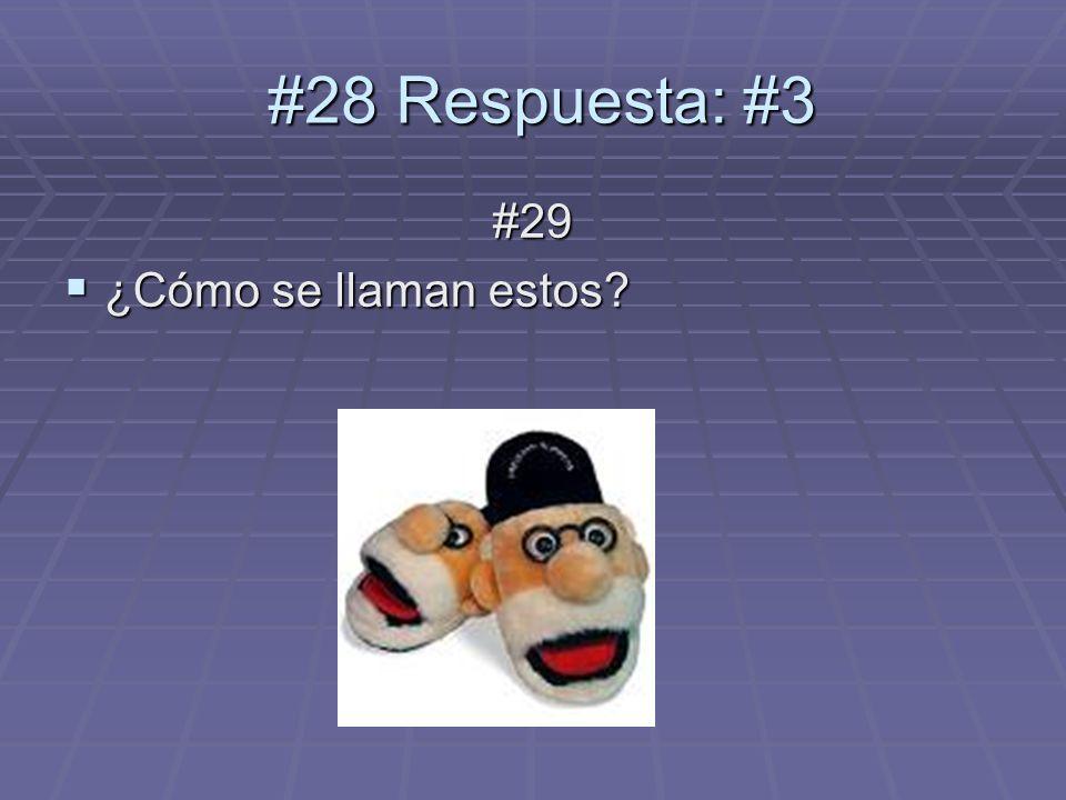 #29 ¿Cómo se llaman estos ¿Cómo se llaman estos #28 Respuesta: #3 #28 Respuesta: #3