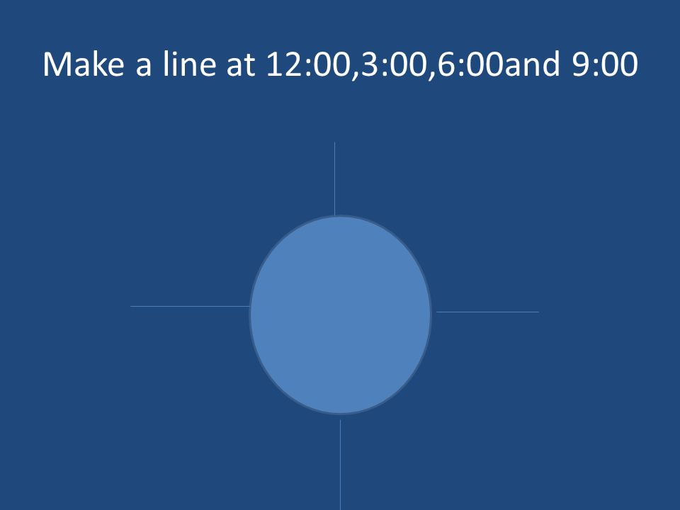Make a line at 12:00,3:00,6:00and 9:00