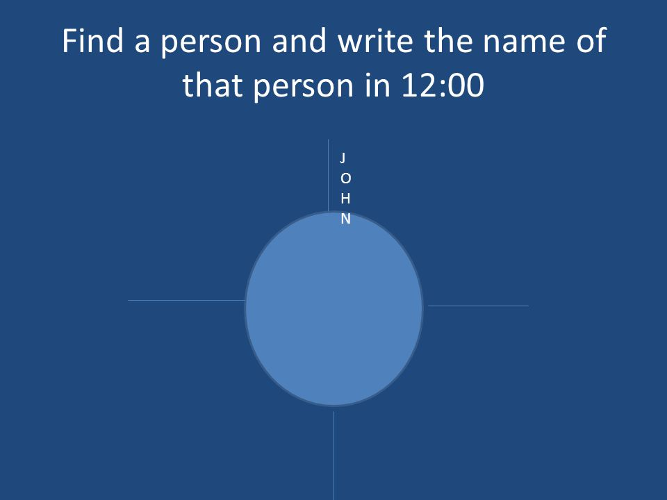 Find a person and write the name of that person in 12:00 JOHNJOHN