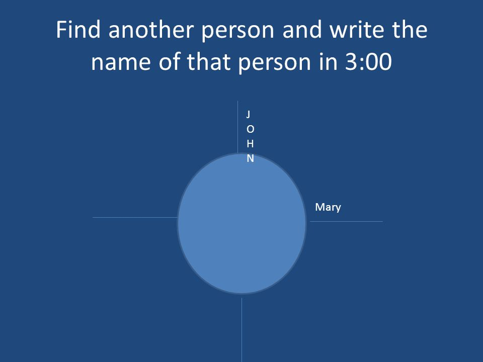 Find another person and write the name of that person in 3:00 JOHNJOHN Mary