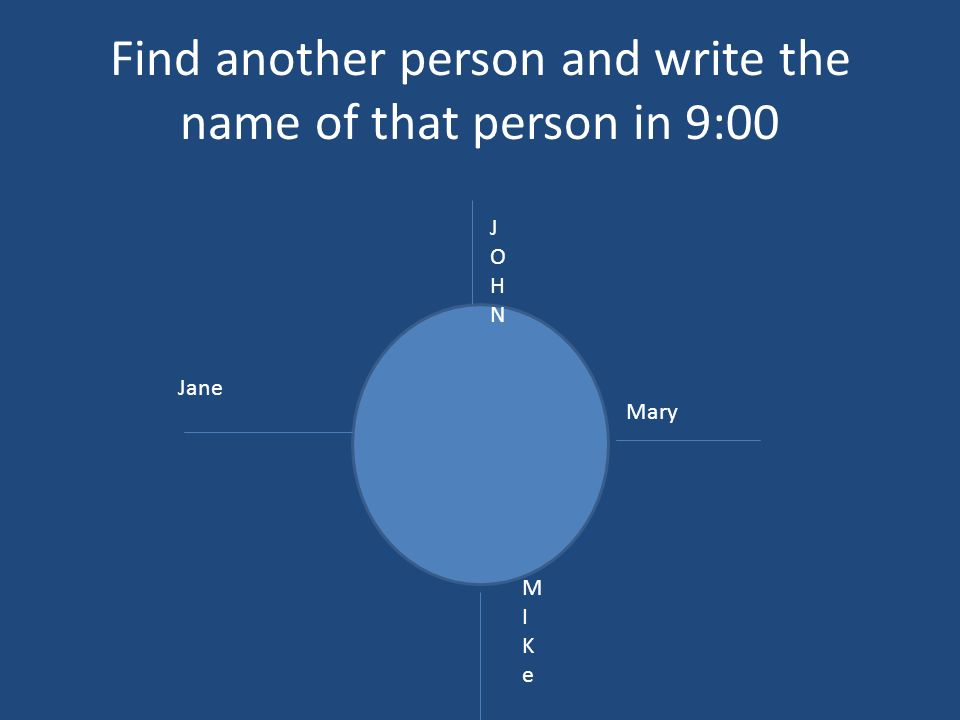 Find another person and write the name of that person in 9:00 JOHNJOHN Mary MIKeMIKe Jane